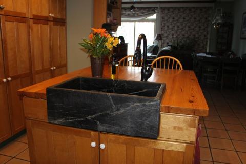 Heart pine, soapstone apron sink