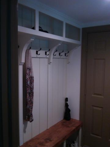 hall bench, cubbies, coat rack