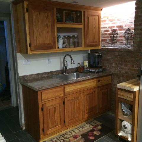tiny kitchen, heart pine