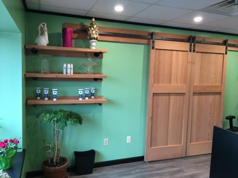 sliding barn doors & shelves for a flower shop