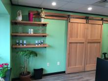 sliding barn doors & shelves for a flower shop