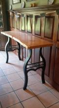 Red Oak paneling, quarter sawn, Butternut, natural edge, metal legs, table